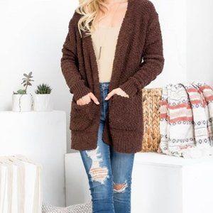 Beautiful Popcorn Cardigan Sweater with Pockets